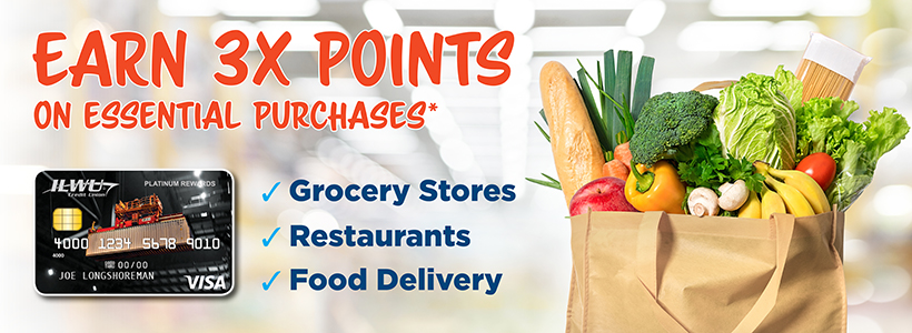 Earn 3X Points on all grocery store and restaurant purchases*