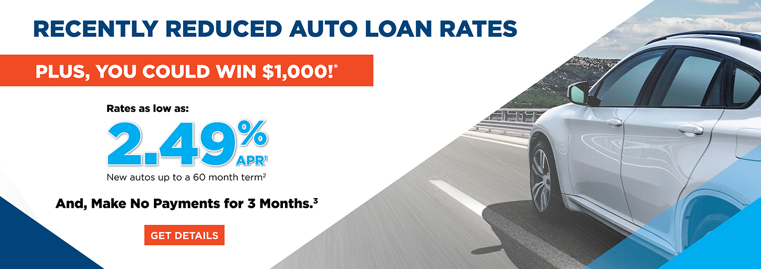 Recently reduced auto loan rates and make no payments for 3 months! Plus,you could win $1,000!*